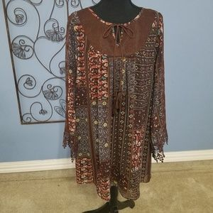 Altar'd State Boho Printed Lace Accent Dress